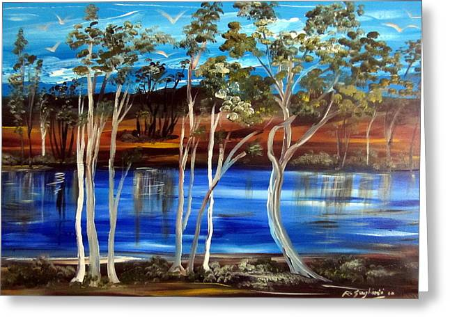 Greeting Card featuring the painting Billabong by Roberto Gagliardi