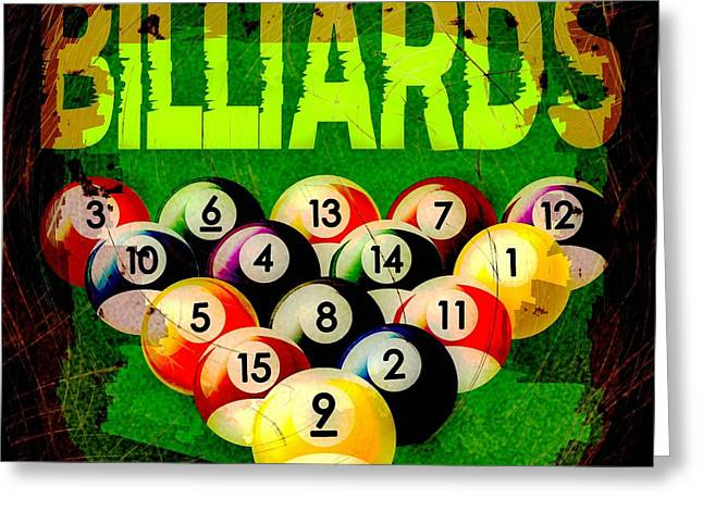 Billiards Abstract Greeting Card by David G Paul