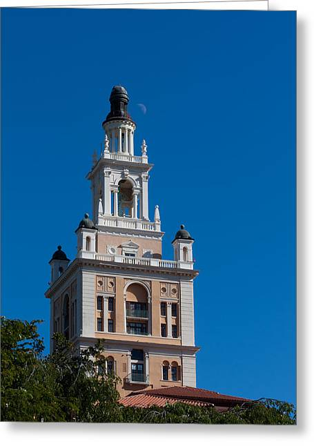 Greeting Card featuring the photograph Biltmore Hotel Tower And Moon by Ed Gleichman