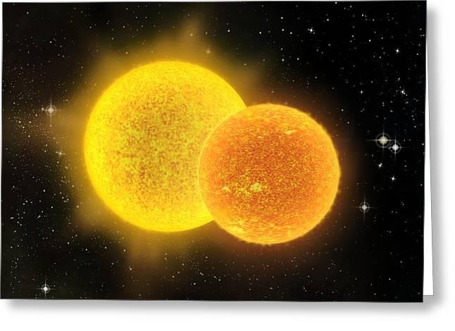 Binary Star System, Artwork Greeting Card by David Ducros