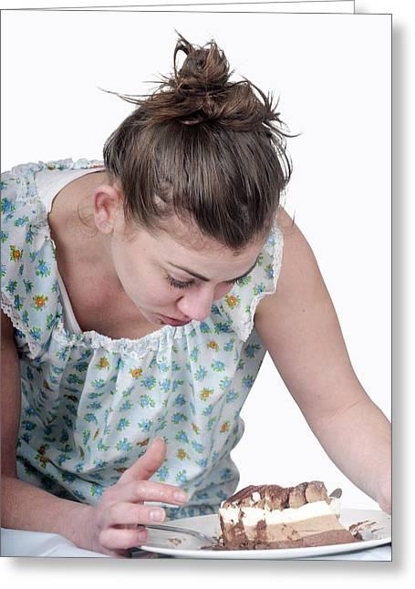 Binging Woman Craving Food Greeting Card by Photostock-israel