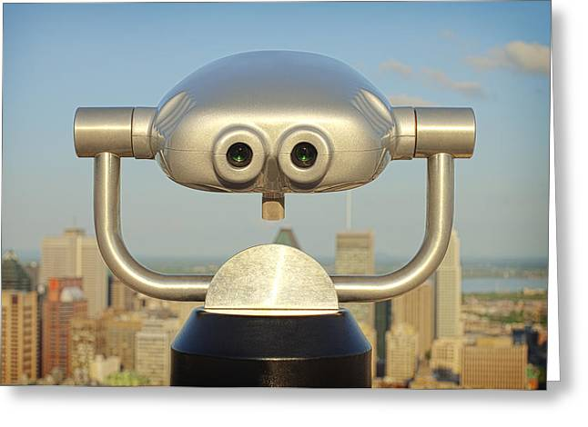 Binoculars With A View Over The City Greeting Card by Charles Knox