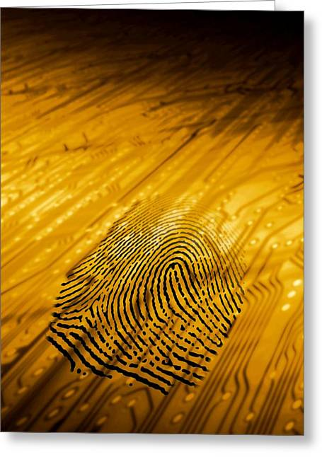 Biometric Security, Artwork Greeting Card by Victor Habbick Visions