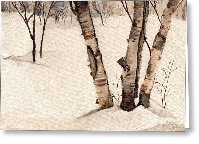 Birch Trees In The Snow Greeting Card by Barb Kirpluk