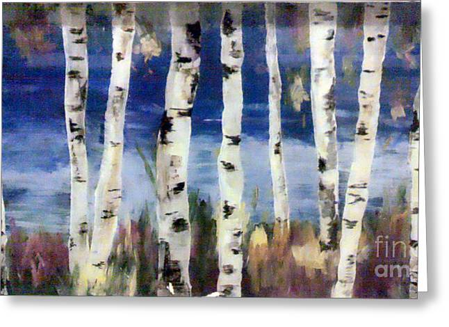 Birches Greeting Card by Cathy Weaver
