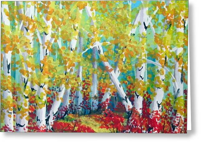 Birches In Autumn Greeting Card by Sharon Marcella Marston