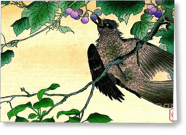 Bird Eating Grapes 1900 Greeting Card by Padre Art