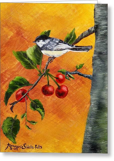 Bird In Chery Tree Greeting Card by Annamarie Sidella-Felts