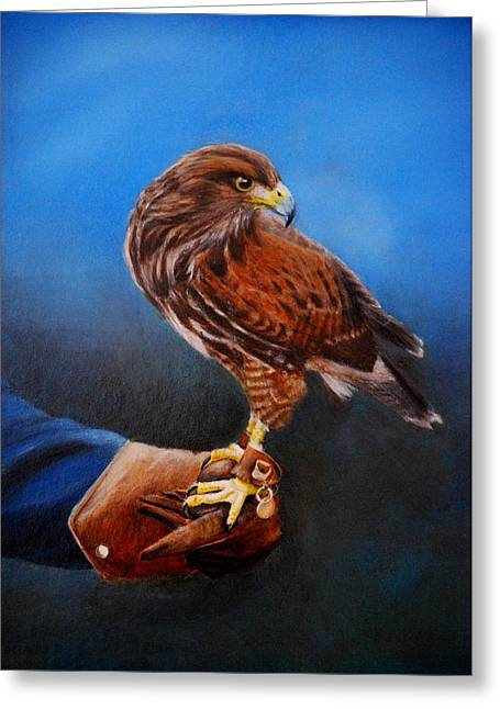 Greeting Card featuring the painting Bird In The Hand by Lynn Hughes