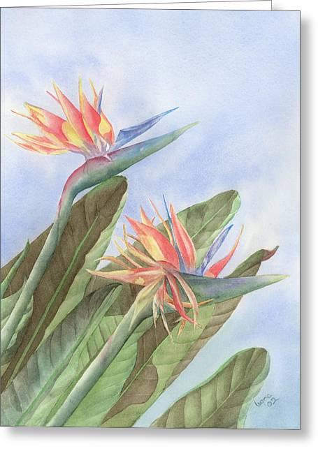 Bird Of Paradise Greeting Card by Leona Jones