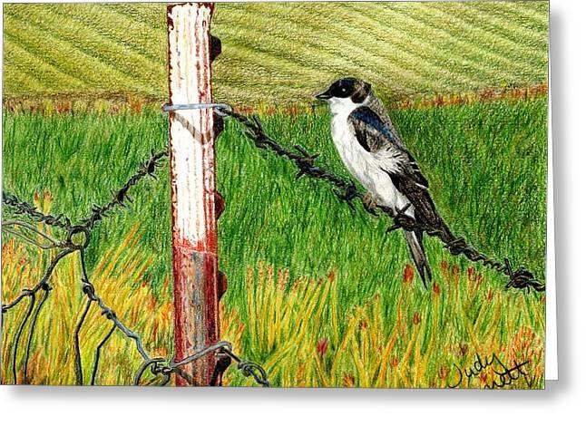 Bird On A Wire Greeting Card by Judy Garrett