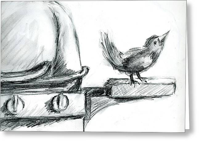 Bird On The Bbq Greeting Card by Marilyn Barton