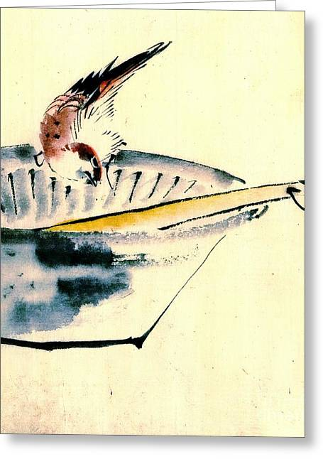 Bird Perched On Bowl 1840 Greeting Card