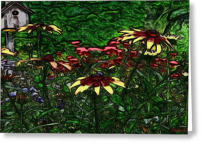Birdhouse Garden Greeting Card by Debra     Vatalaro
