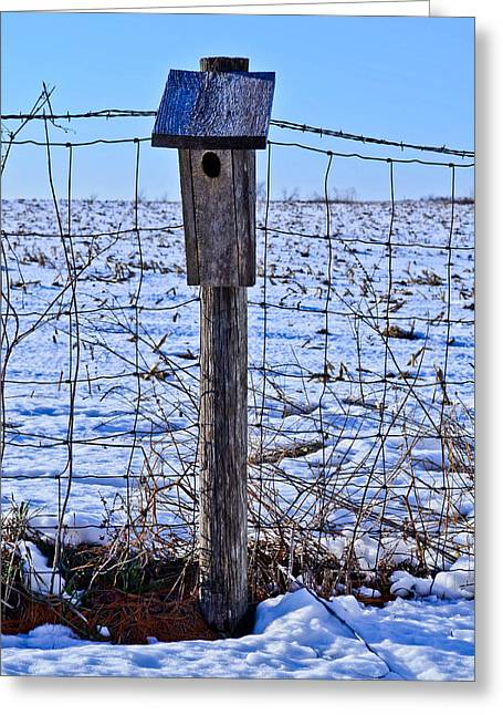 Birdhouse In The Snow Greeting Card by Julio n Brenda JnB