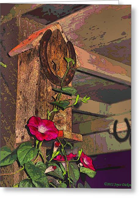 Birdhouse Morning Glories Two Greeting Card by Joyce Dickens
