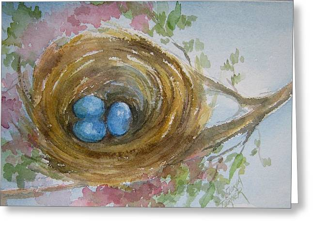 Birds Eggs In A Nest Greeting Card by Gloria Turner