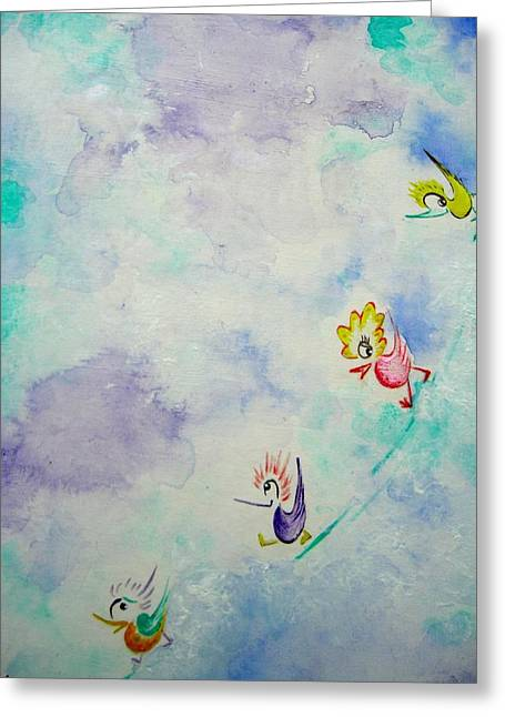 Birds On The Clouds  Greeting Card by Asida Cheng