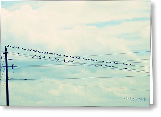 Birds On Wires Blue Tint Greeting Card by Paulette B Wright