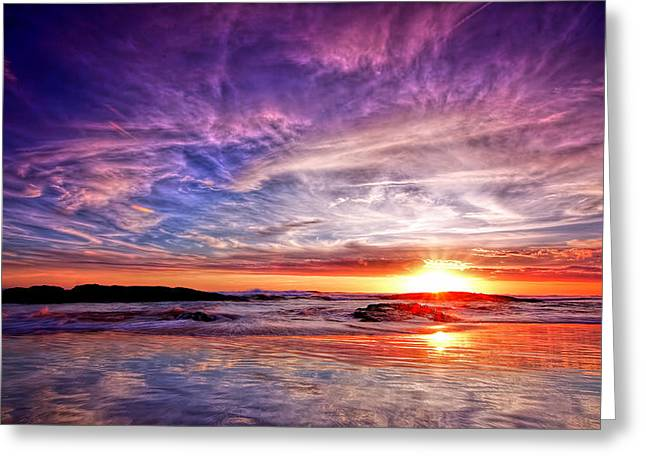Birubi Point Sunset Redux Greeting Card