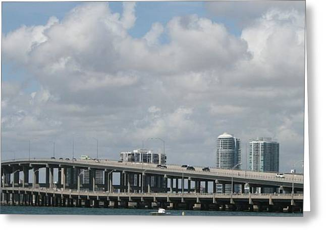 Biscayne Bridge Greeting Card by Jessica Jandayan