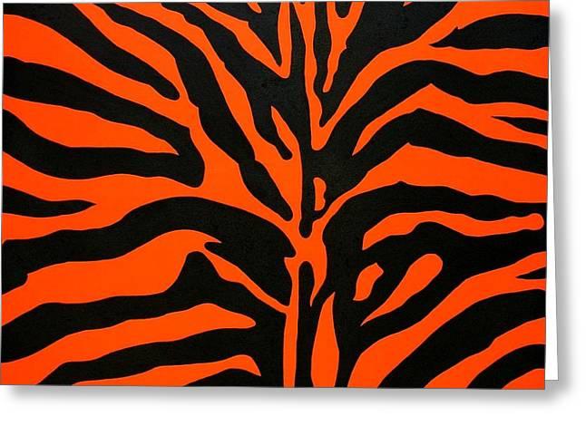 Black And Orange Zebra Greeting Card