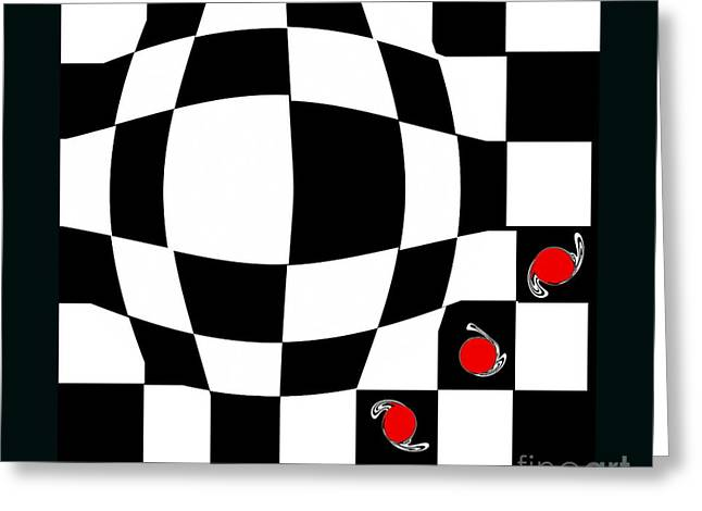 Black And White And Red Abstract Art No.66. Greeting Card