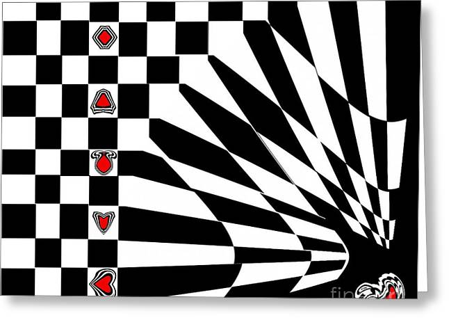 Abstract Black White Red Art No.107. Greeting Card