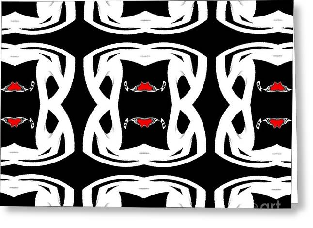 Pattern Black White Red No.92. Greeting Card by Drinka Mercep