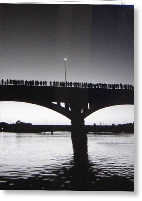 Black And White Austin Texas Bat Bridge Greeting Card by Shawn Hughes