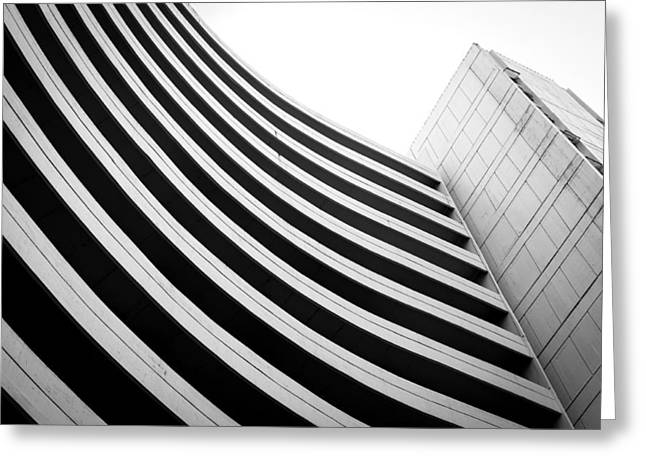 Black And White Building Curve Shape  Greeting Card by Kittipan Boonsopit