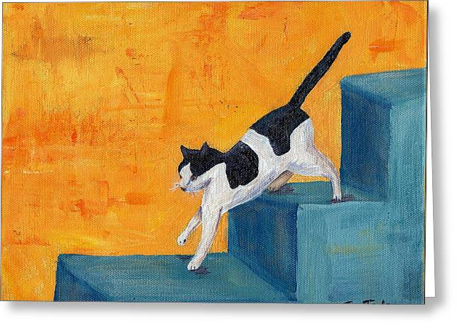 Greeting Card featuring the painting Black And White Cat Descending Blue Stairs by Terry Taylor