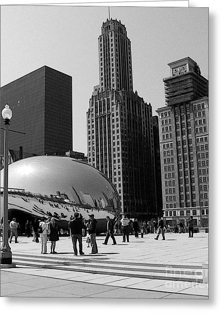 Black And White Cloudgate Greeting Card by David Bearden