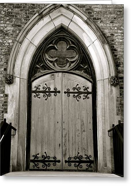 Black And White Doorway Greeting Card