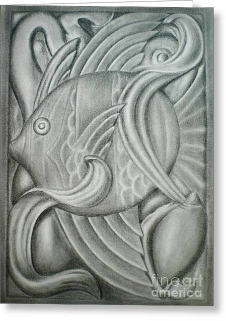 Greeting Card featuring the drawing Black And White Fish by Paula L