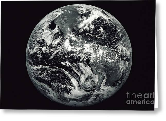 Black And White Image Of Earth Greeting Card by Stocktrek Images