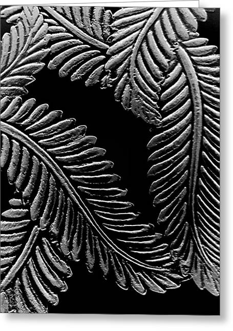 Black And White Leaves Greeting Card by Tanya Moody