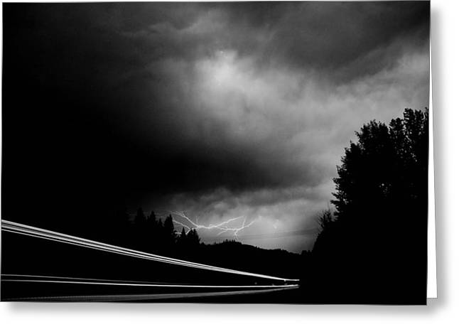 Black And White Lightning Greeting Card by Don Mann