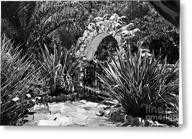 Black And White Mexican Patio With Stone Arbor San Diego California Usa Greeting Card