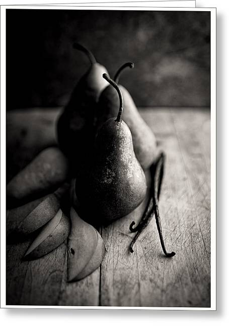 Black And White Simple Naturmort Photo With Bosc Pears And Vanilla Beans Greeting Card by Anna Hoychuk