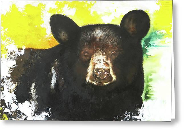 Black Bear Greeting Card by Anthony Burks Sr