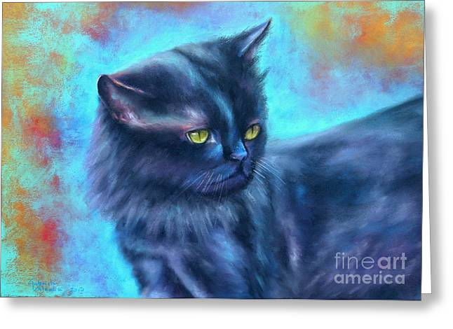 Black Cat Color Fantasy Greeting Card by Gabriela Valencia