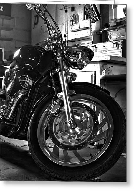Black Chrome Greeting Card by Peter Chilelli