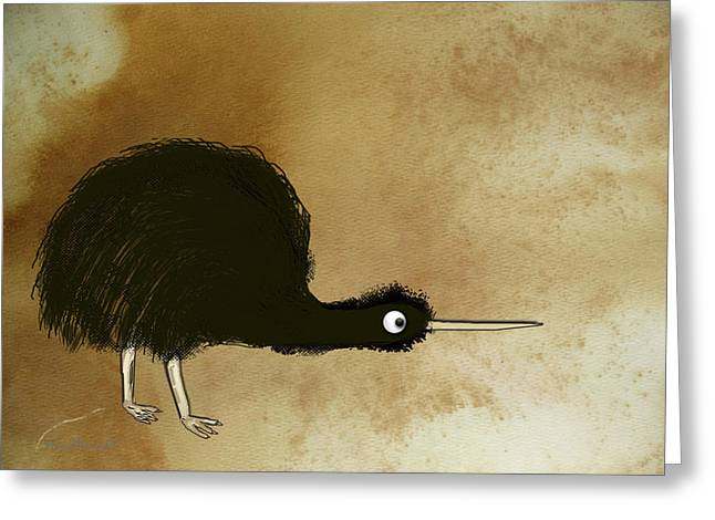 Black Kiwi Greeting Card