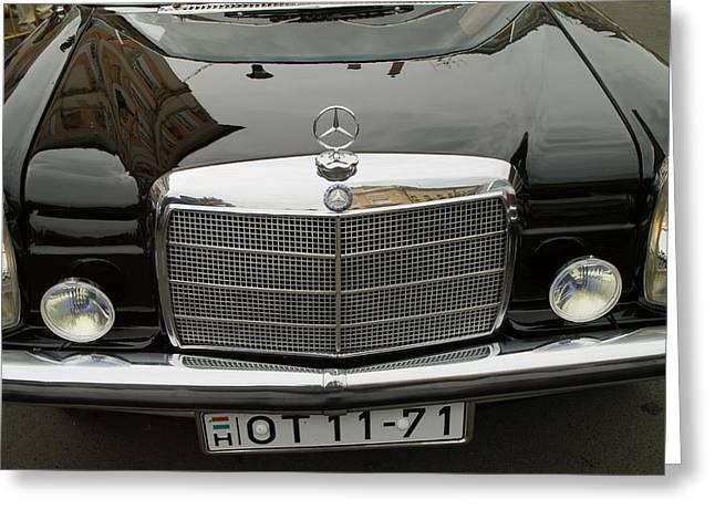 Black Mercedes Logo Greeting Card by Odon Czintos