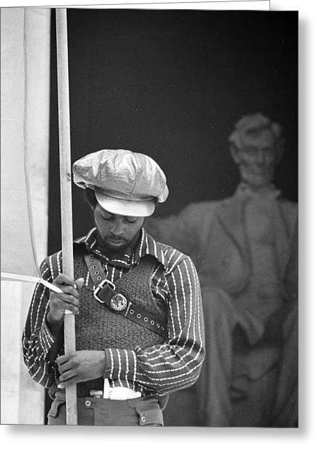 Black Panthers At The Lincoln Memorial - 1970 Greeting Card by International  Images