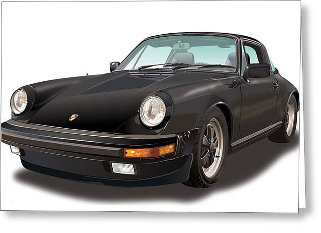 Black Porsche 911 Sc Targa  Greeting Card by Alain Jamar