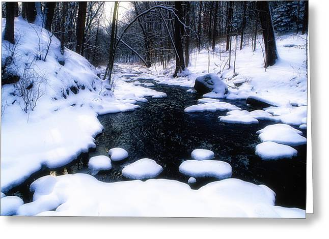 Black River Winter Scenic Greeting Card by George Oze