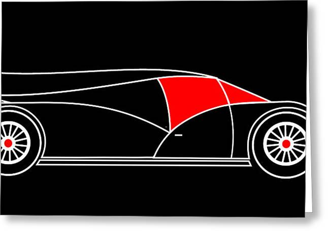 Black Rocket Racing Car Virtual Car Greeting Card by Asbjorn Lonvig