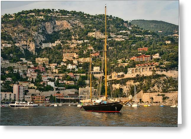 Greeting Card featuring the photograph Black Sailboat by Steven Sparks